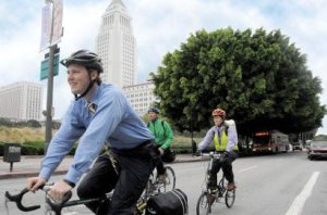 Chris rides off into the sunset from LADOT in 2011. Image: ##https://ladotbikeblog.wordpress.com/2011/07/29/the-bike-blog-it-is-achanging-christopher-kidd-out-jojo-pewsawang-in/##LADOT Bike Blog##