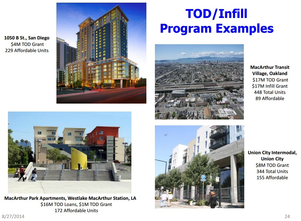 Examples of Transit-Oriented Development that CA Affordable Housing Sustainable Communities grants can support. Image via Strategic Growth Council
