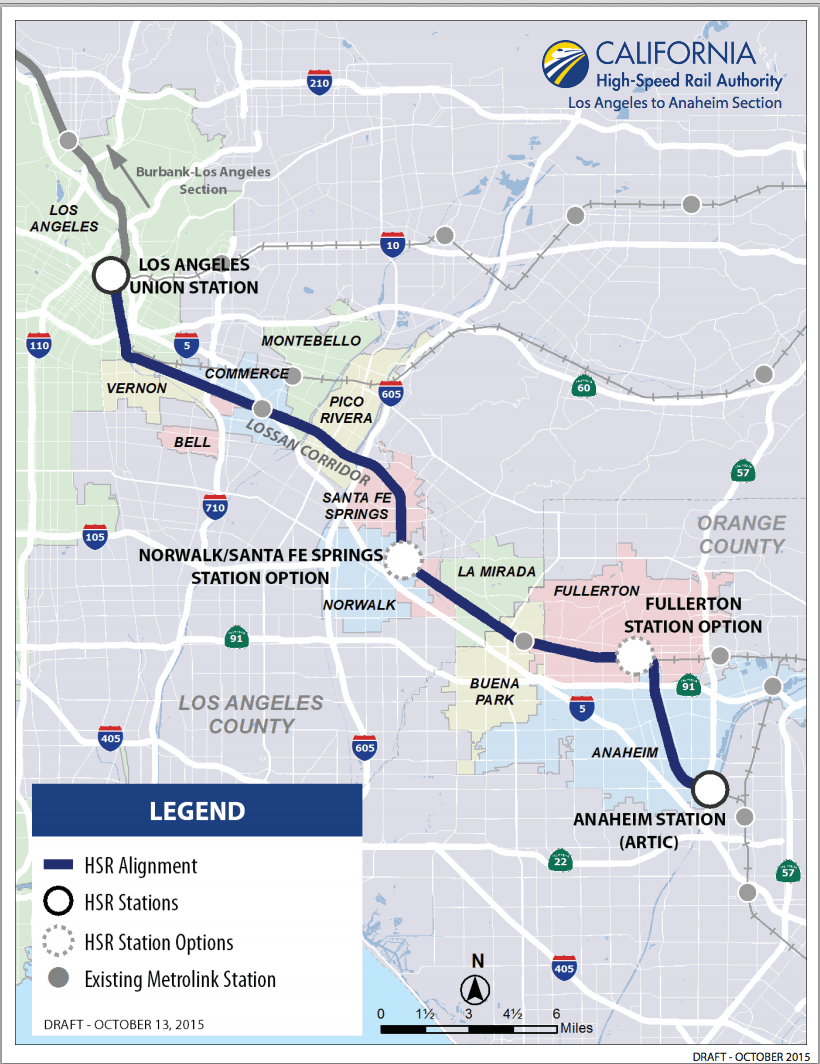 To see a higher-res pdf of the proposed route along the Los Angeles to Anaheim route, click ##http://www.hsr.ca.gov/docs/newsroom/maps/LA_Anaheim_Project_Section_Map_Fall_2015.pdf##here.##