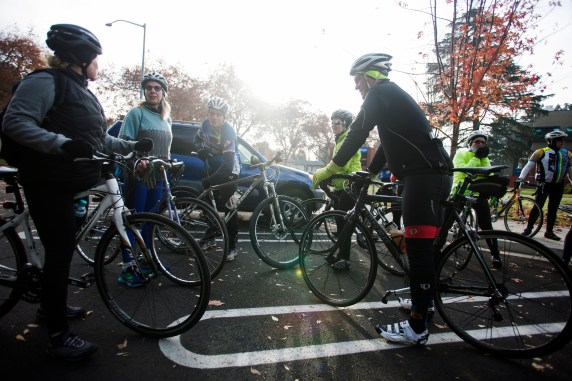 "Stanislaus County Bicycle Club members gather before its ""ride the gift of bike lanes."" Photo: Minerva Perez"