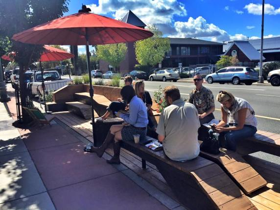 The Popup Parklet at Market Hall in Redding. Image: Catalyst Young Professionals