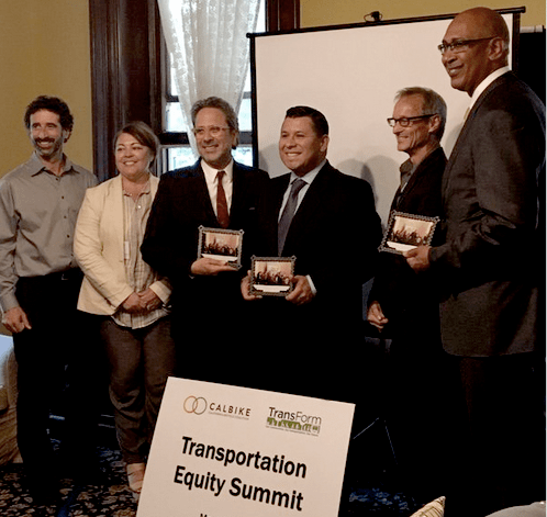 Advocates recognized the efforts of allies in the state Assembly. From left: Stuart Cohen, TransForm; Genoveva Islas, CalBike; Assemblymember Richard Bloom (D-Santa Monica); Asm. Eduardo Garcia (D-Coachella); Dave Snyder, CalBike; and Asm. Chris Holden (D-Pasadena).