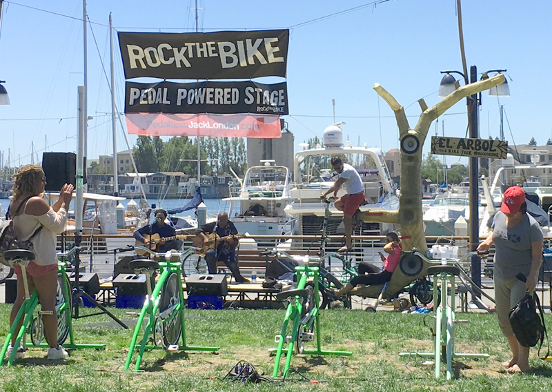Rock the Bike offered live music, powered by audience members on stationary bikes.