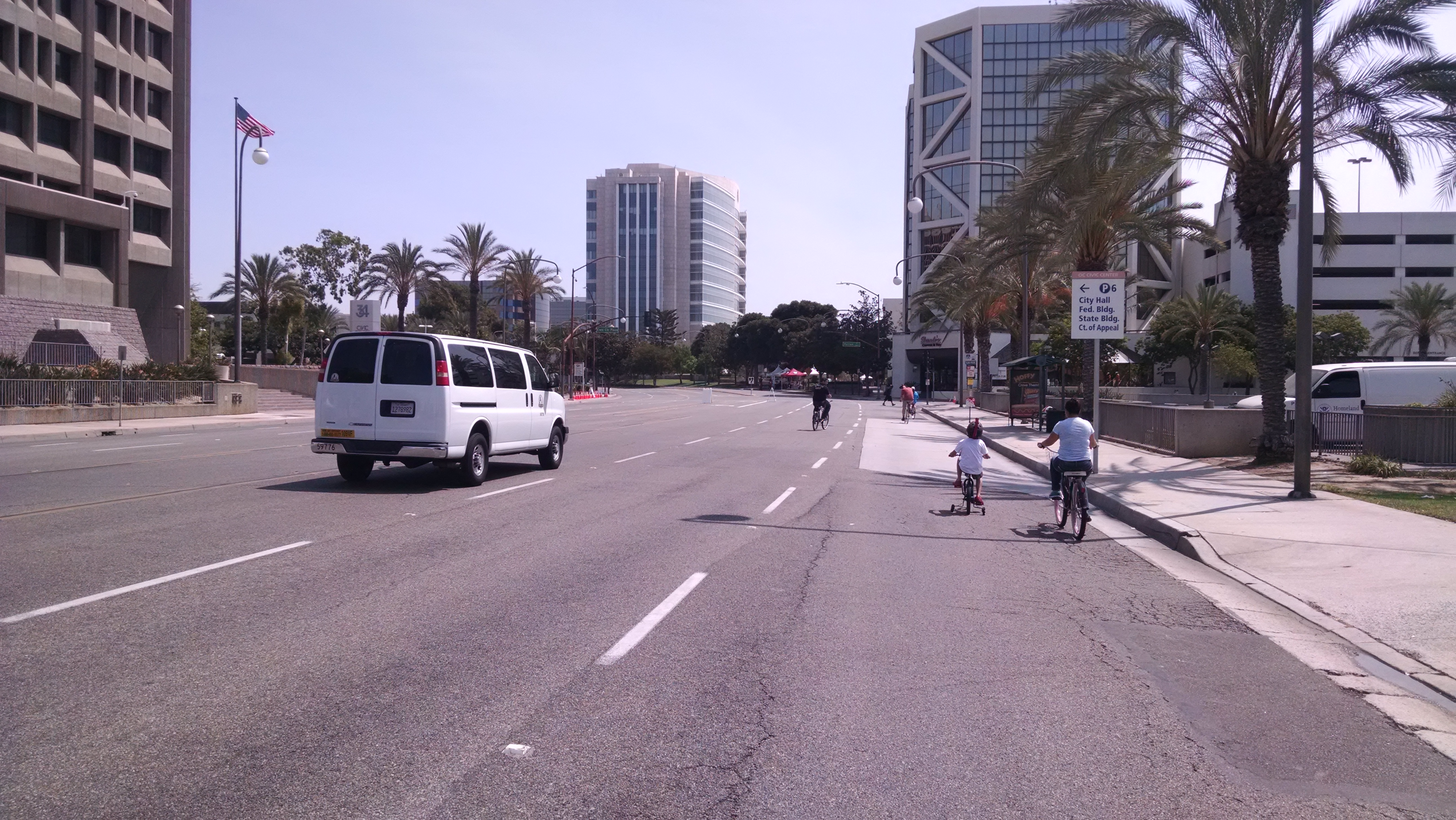 For four hours, roughly three miles were opened up for bikes and pedestrians in Santa Ana's 5k/Ciclovia event in downtown Santa Ana. Yet, there were not many people there. Photo by Kristopher Fortin