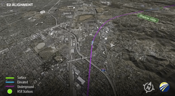 Animation of one of the proposed HSR routes through the San Gabriel Mountains. The E2 alignment has a long tunnel in the valley, under the community of Shadow Hills. Image: Screengrab from HSR Blog.