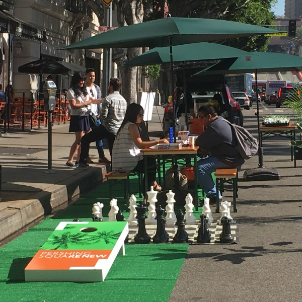 Pershing Square Renew, Jose Huizar, and Agence TER + Team celebrate #PARKingDAY, with both a party and outreach for their plan to transform the Pershing Square transit stop.