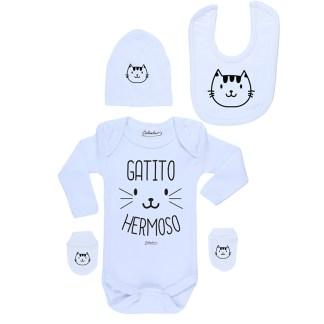 Conjunto Bebé Recién Nacido Body Pilucho Gorro Babero Mitones Gatito Hermoso