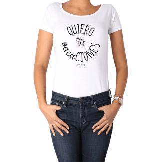 Polera Mujer Calambur 100% algodón Mensaje Divertido Estampado Quiero Vacaciones
