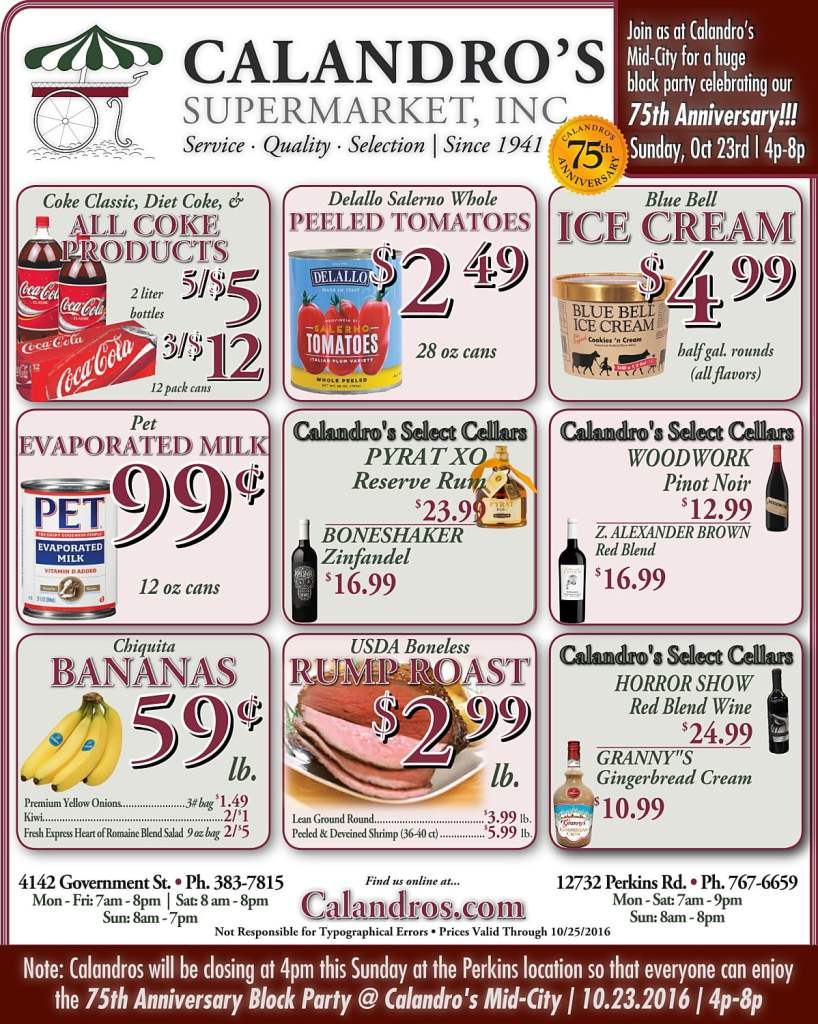Check out the Weekly Deals @ Calandro's for 10/20/2016