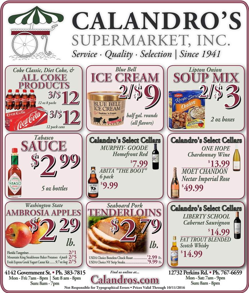 Check out the Weekly Deals @ Calandro's for 10/6/2016