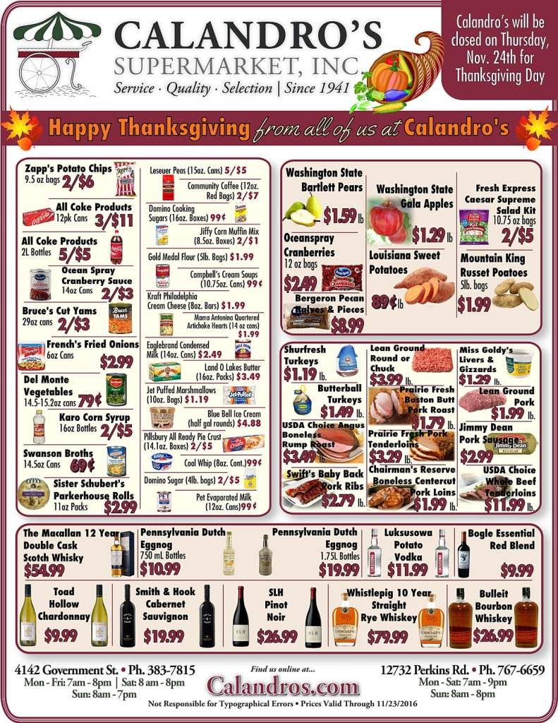 Come by and check out the Weekly Deals @ Calandro's from 11/10/2016-Thanksgiving
