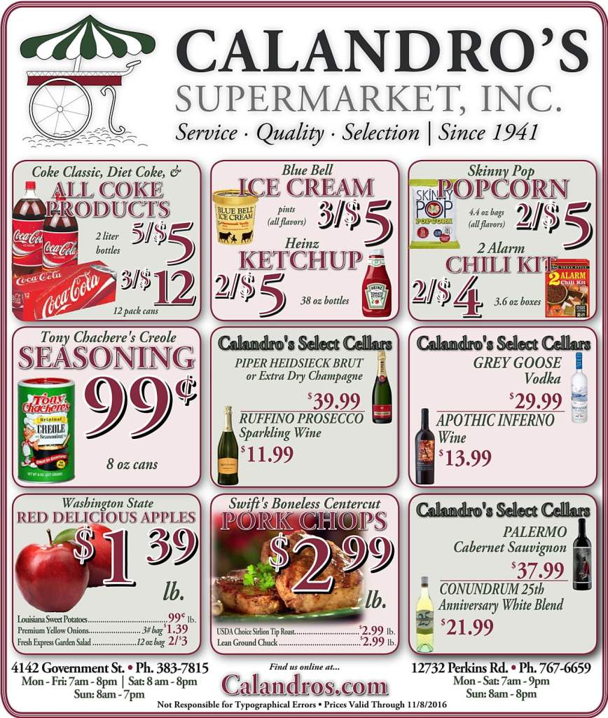 Check out the Weekly Deals @ Calandro's for 11/3/2016