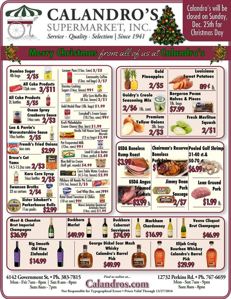 Stop by and check out the Weekly Deals @ Calandro's for Christmas!