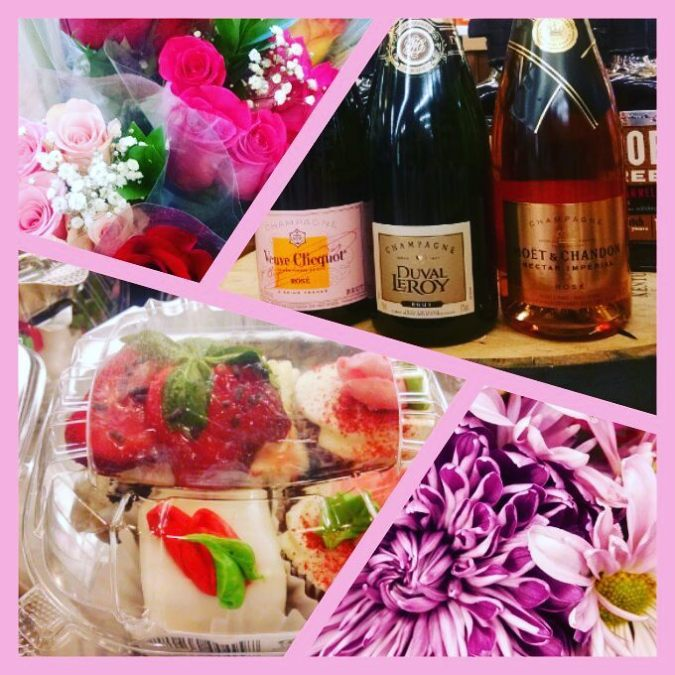 #valentinesday goodies @calandrosmkt Perkins! #champagne #strawberries #bakery #wine #flowers #itsallhere