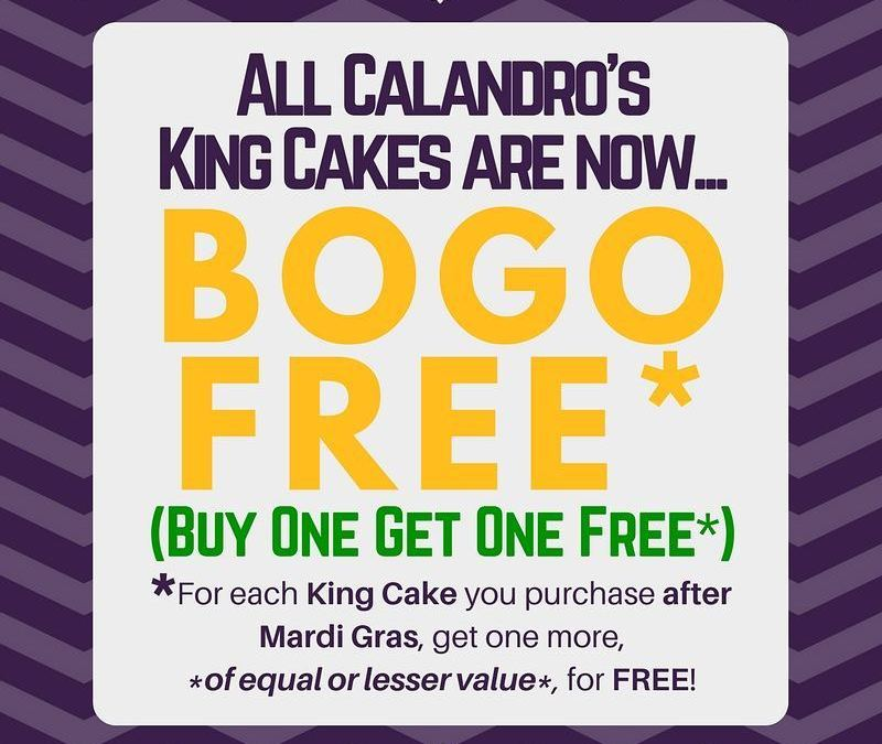 While supplies last, #BOGO on #KingCakes at both Calandro's locations! And there likely won't be…