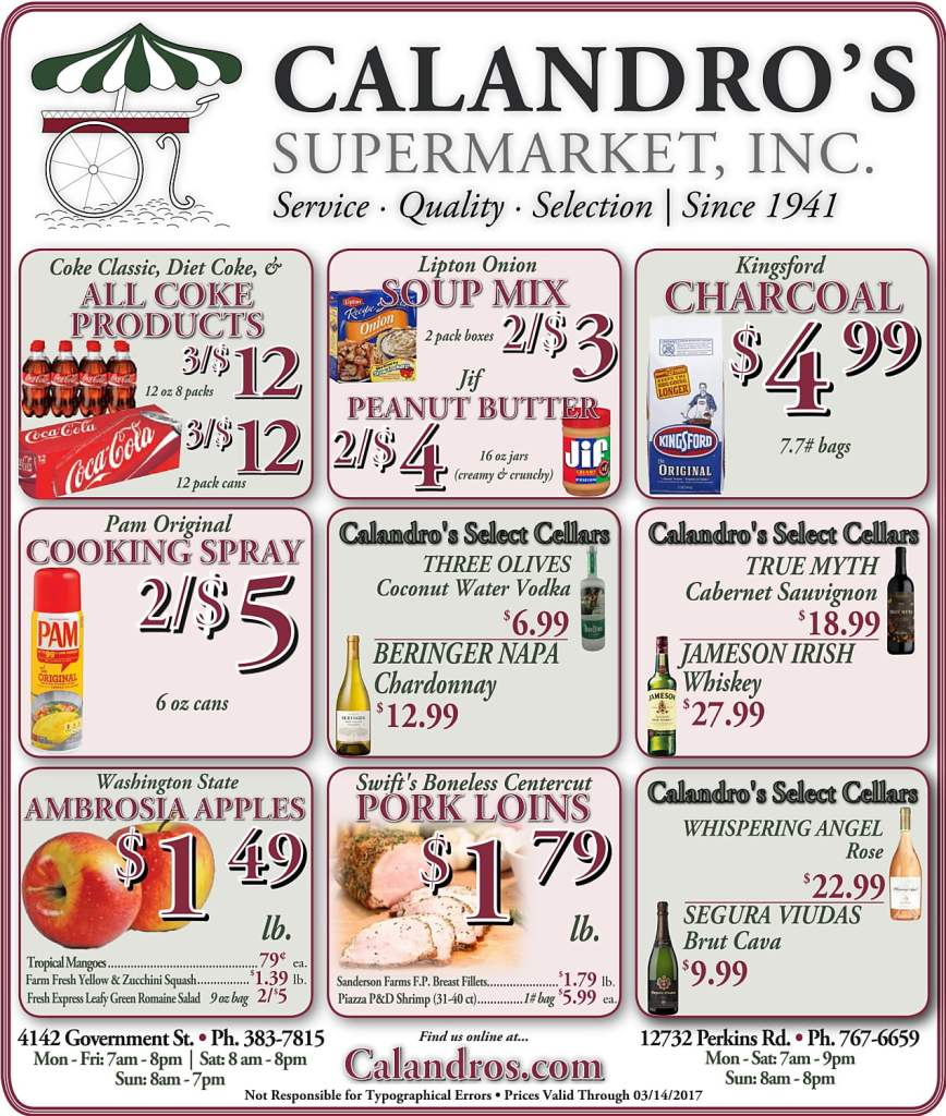 Amazing Weekly Deals @ Calandro's this week (03/09)!