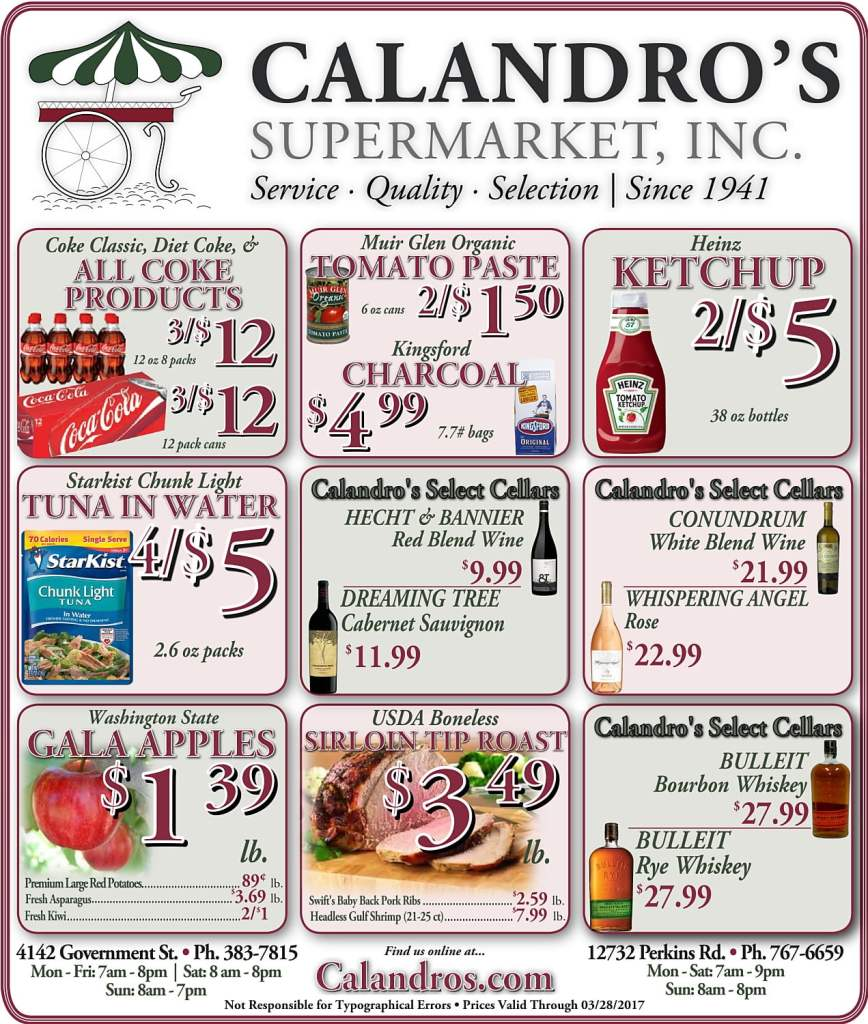 Amazing Weekly Deals @ Calandro's this week (03/23)!