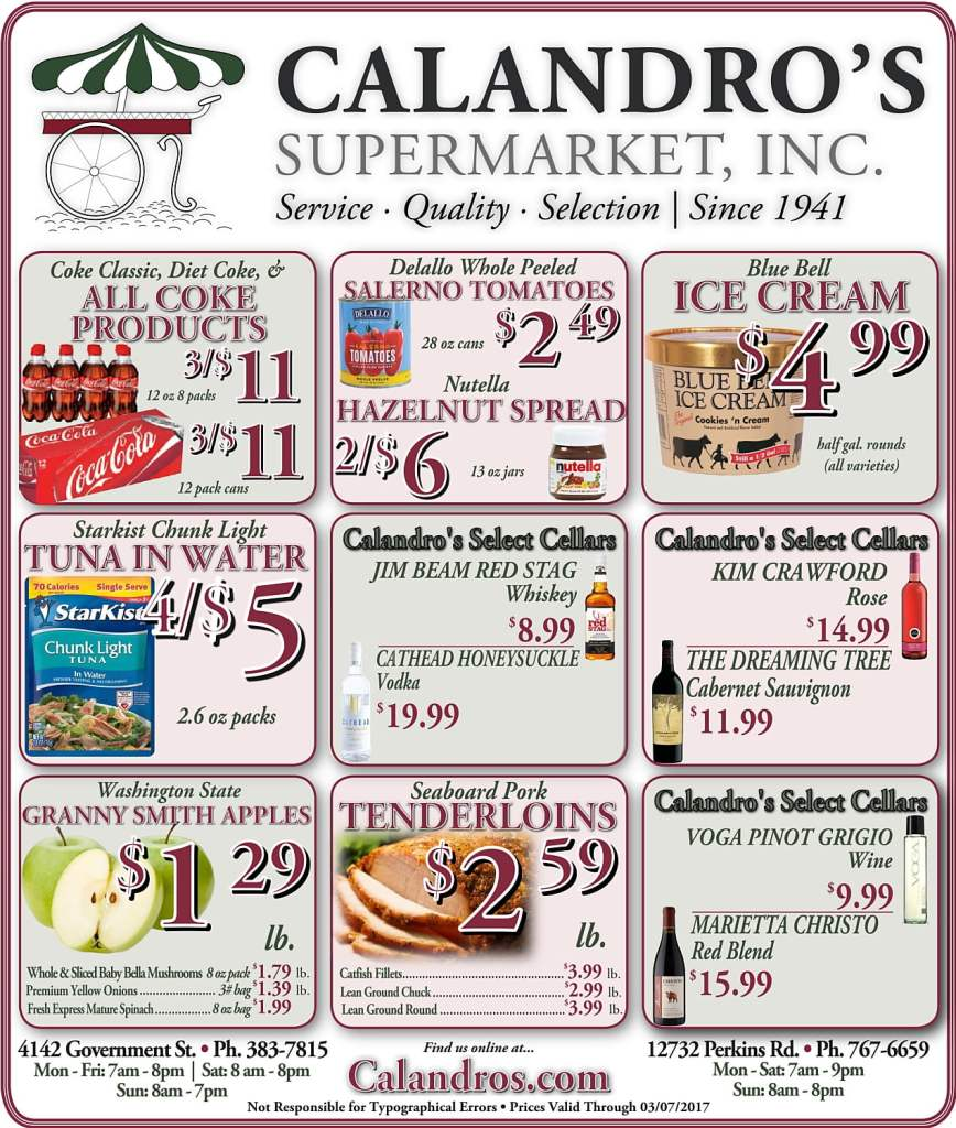 Amazing Weekly Deals @ Calandro's this week (03/02)!