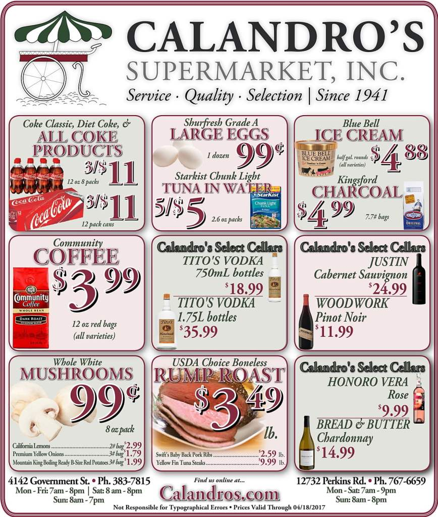 Amazing Weekly Deals @ Calandro's this week (04/13)!