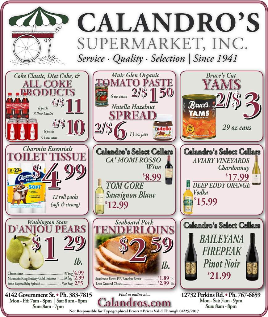 Amazing Weekly Deals @ Calandro's this week (04/20)!