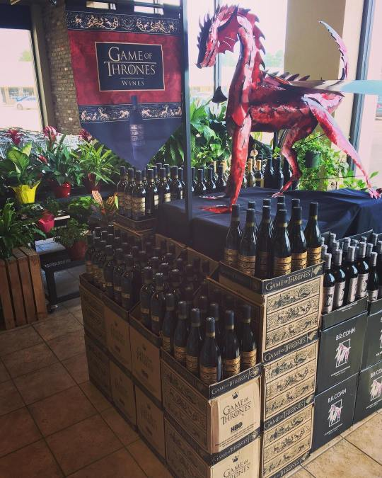 Game of Thrones wine is now available at our Perkins Rd location! #wine #winteriscoming #petthedragon…