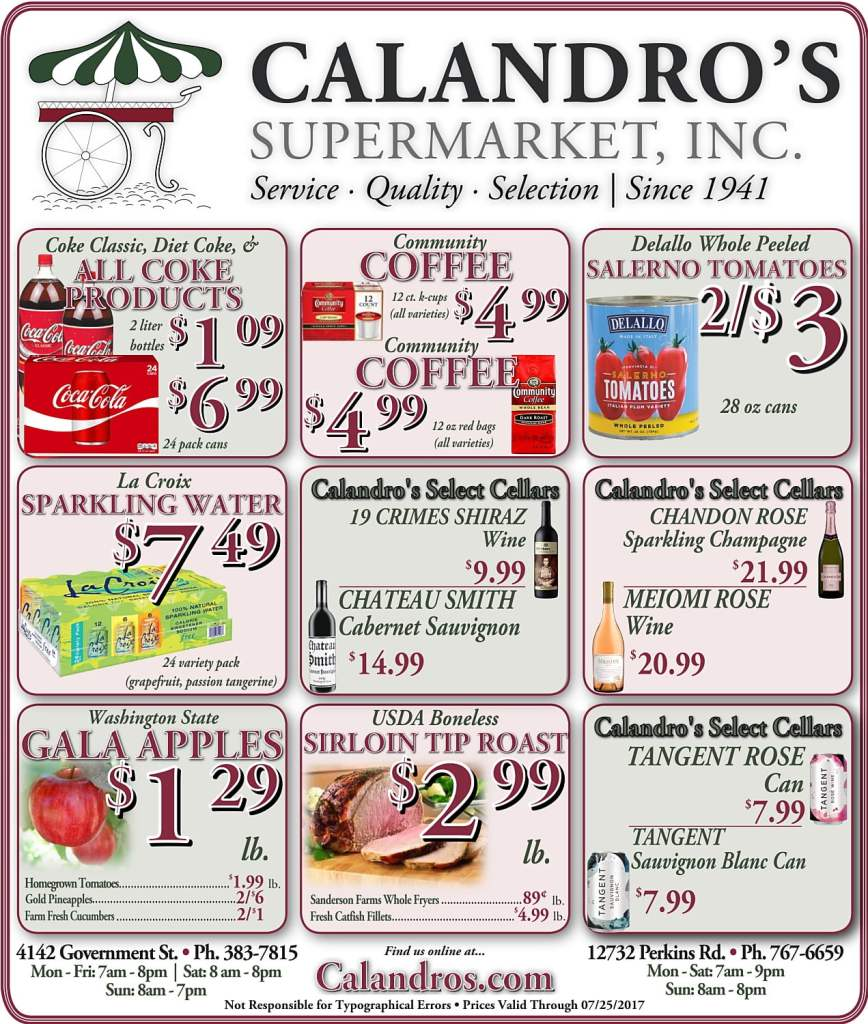 Amazing Weekly Deals @ Calandro's this week (07/20)!