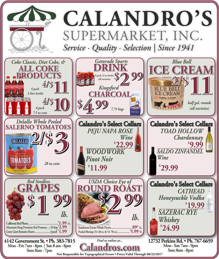 Amazing Weekly Deals @ Calandro's this week (08/17)!