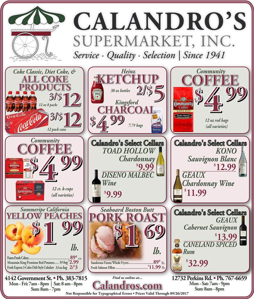 Amazing Weekly Deals @ Calandro's this week (09/21)!