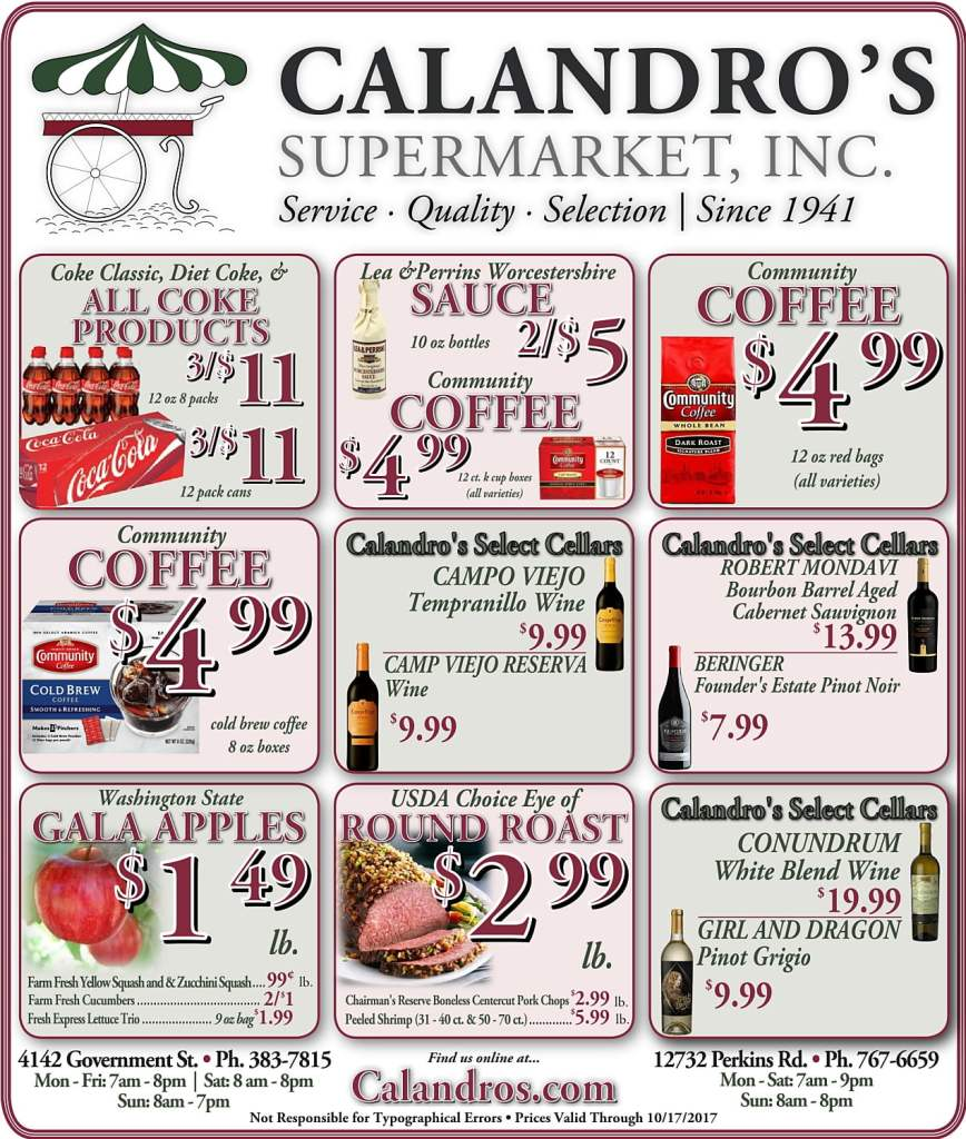 Amazing Weekly Deals @ Calandro's this week (10/12)!