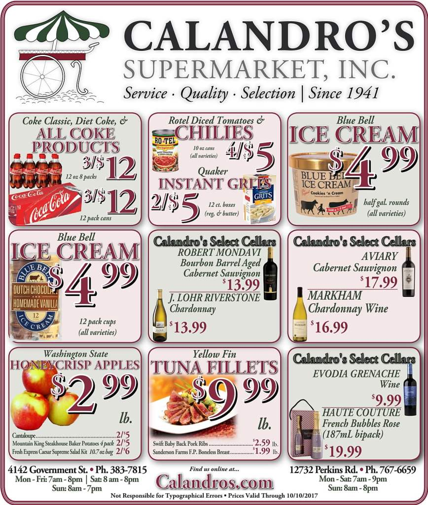 Amazing Weekly Deals @ Calandro's this week (10/05)!