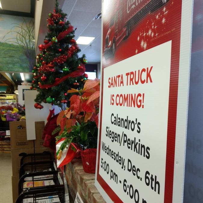 Don't forget…Santa is coming to Calandro's Perkins from 5p-6p THIS EVENING with his @cocacola #sleigh!…