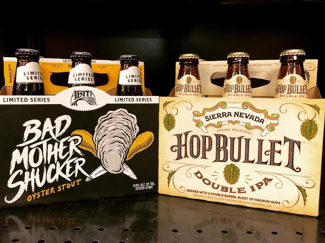 @abitabeer Bad Mother Shucker Oyster Stout and @sierranevada Hop Bullet Double IPA are both now…