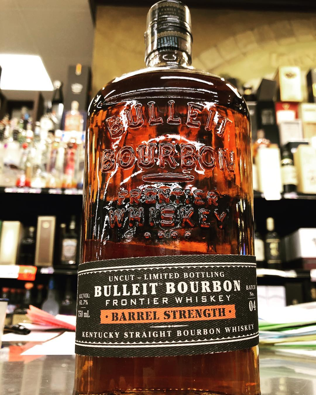 @bulleitwhiskey Limited Bottling Barrel Strength is now available at our Perkins Rd location! Clocking in…