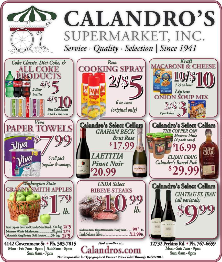 Amazing Weekly Deals @ Calandro's this week (02/22)!