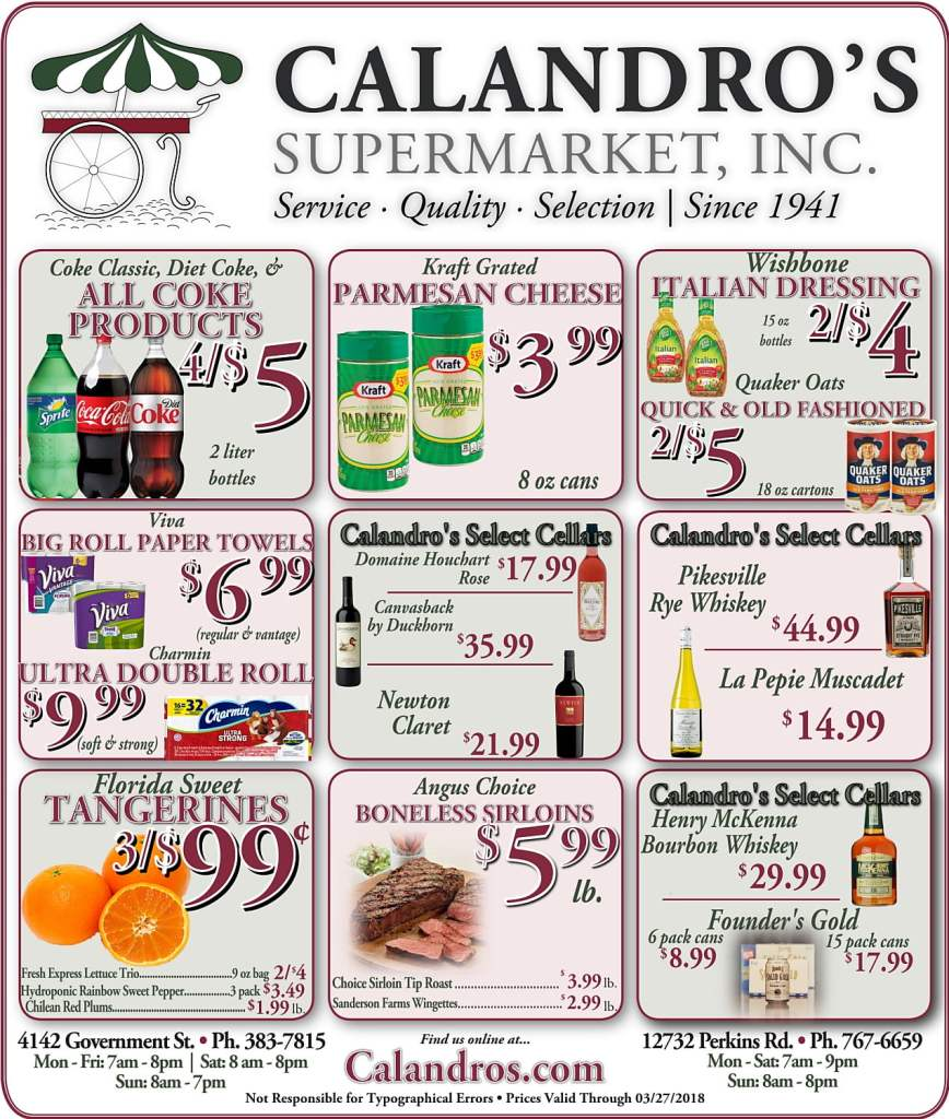 Amazing Weekly Deals @ Calandro's this week (03/22)