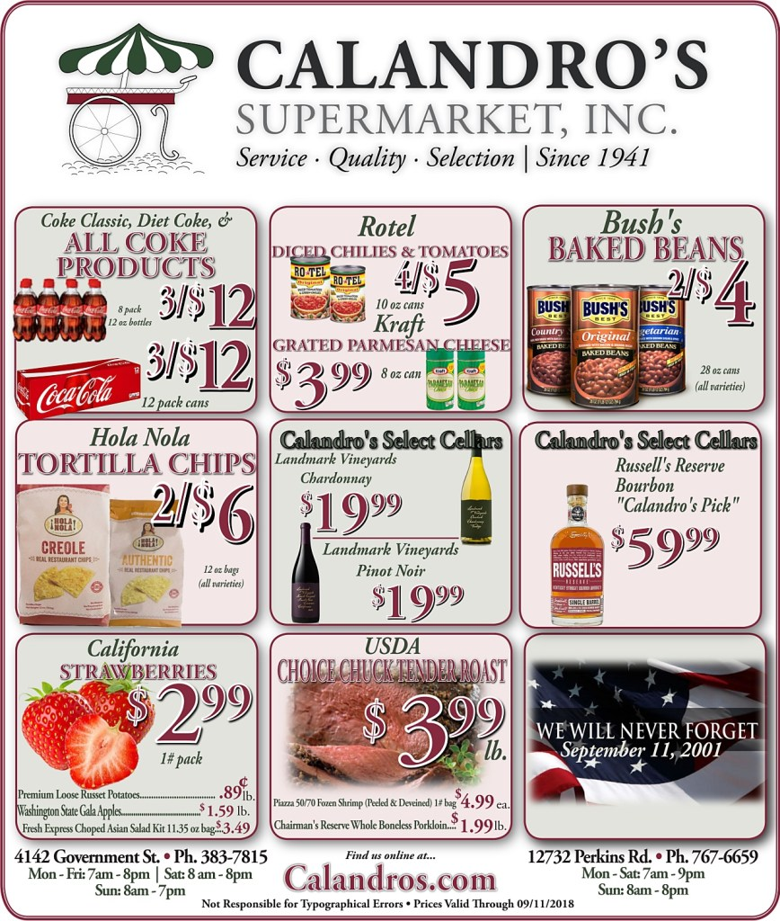 Amazing Weekly Deals @ Calandro's this week (09/06)
