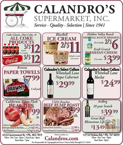 Amazing Weekly Deals @ Calandro's this week (07/12)