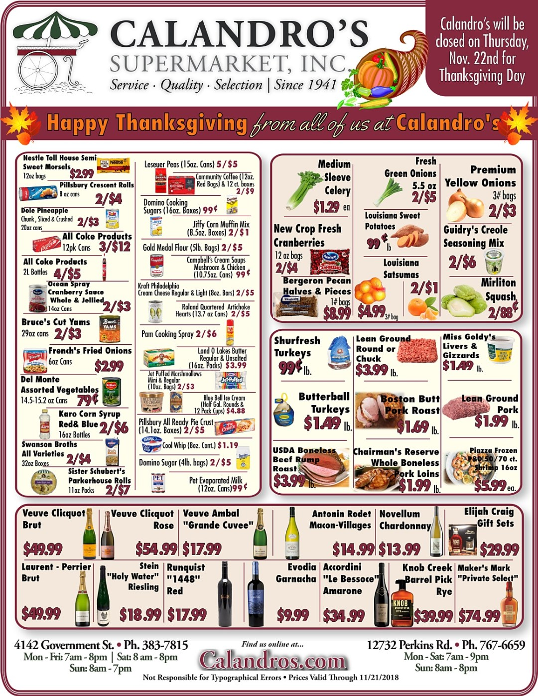 Amazing Weekly Deals @ Calandro's this week (11/08/2018)