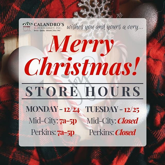 Store Hours for Christmas Eve & Christmas Day y'all! Everyone have a very safe &…
