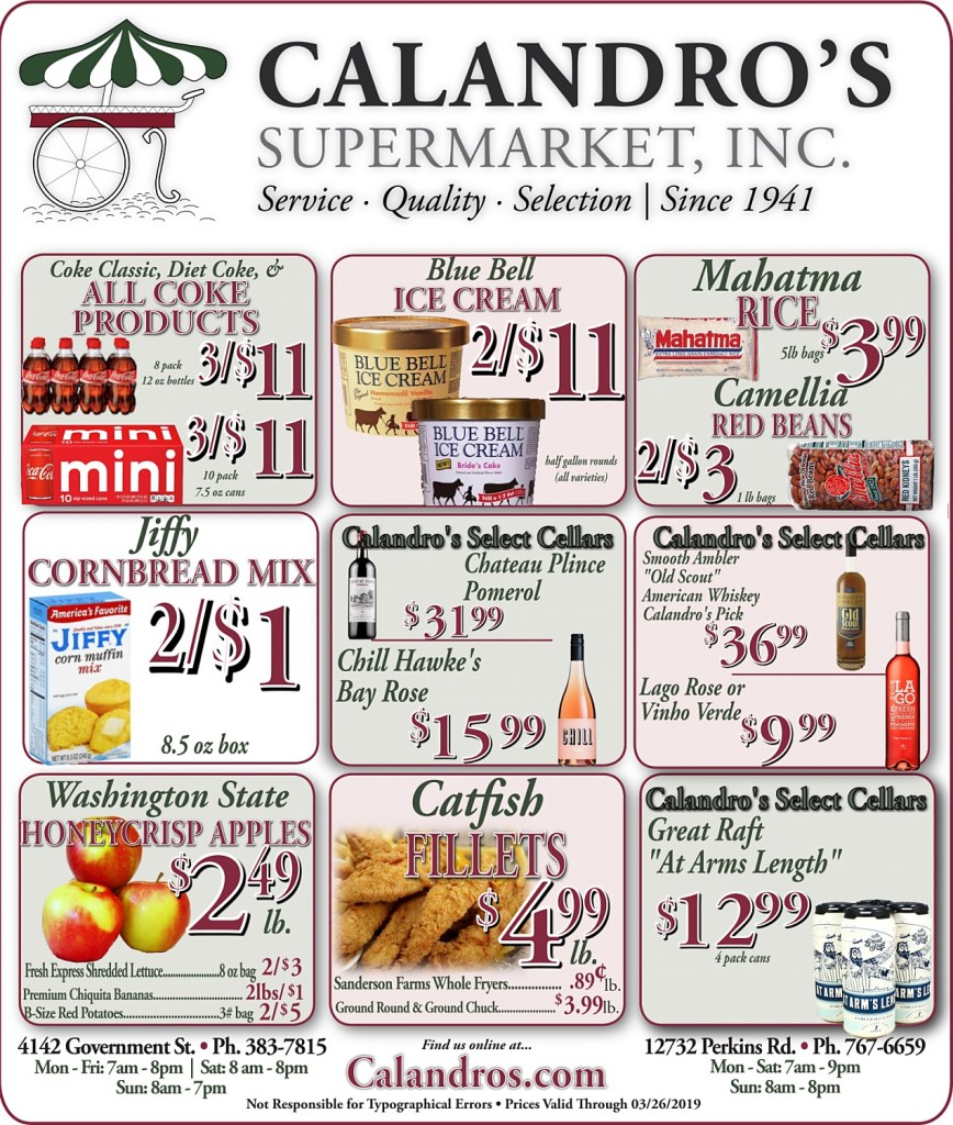 Amazing Weekly Deals @ Calandro's this week (03/21/2019)
