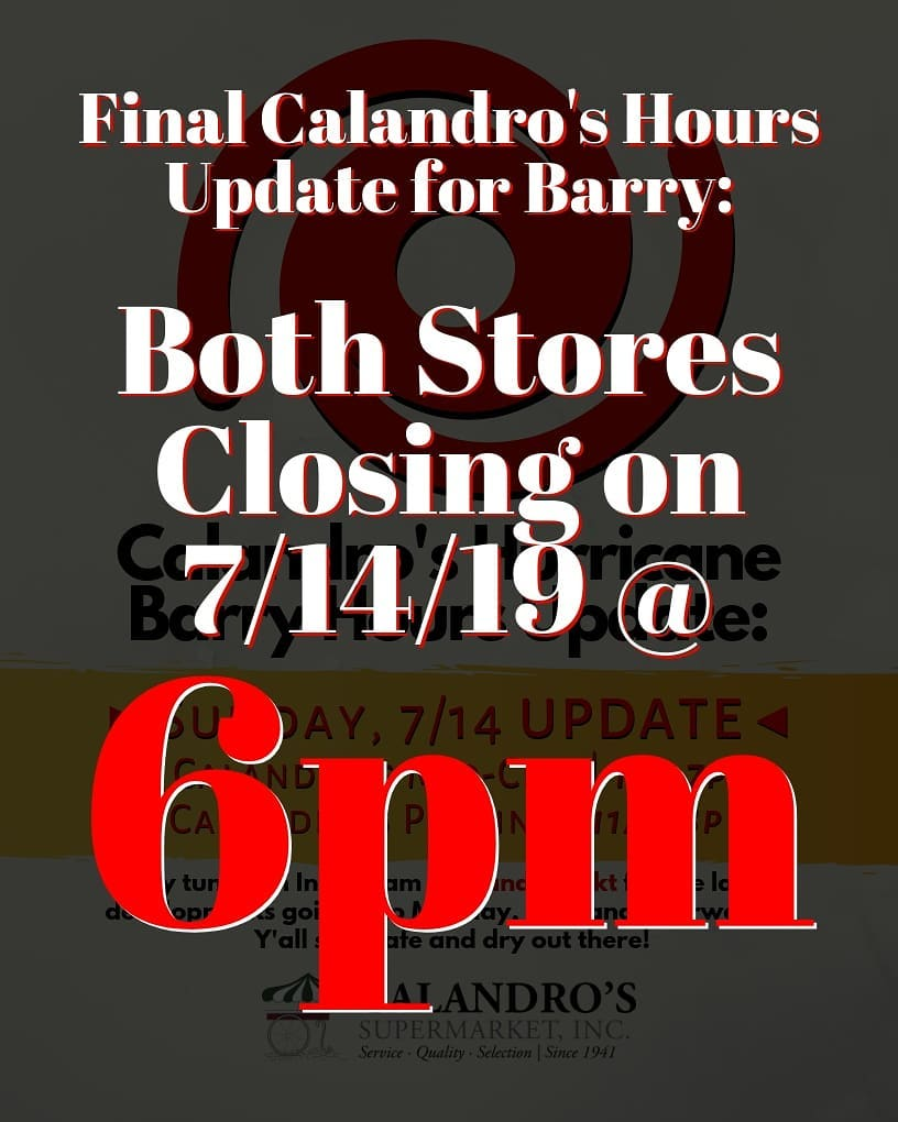 One more update for Calandro's hours: both stores will now be closing @ 6pm tonight…