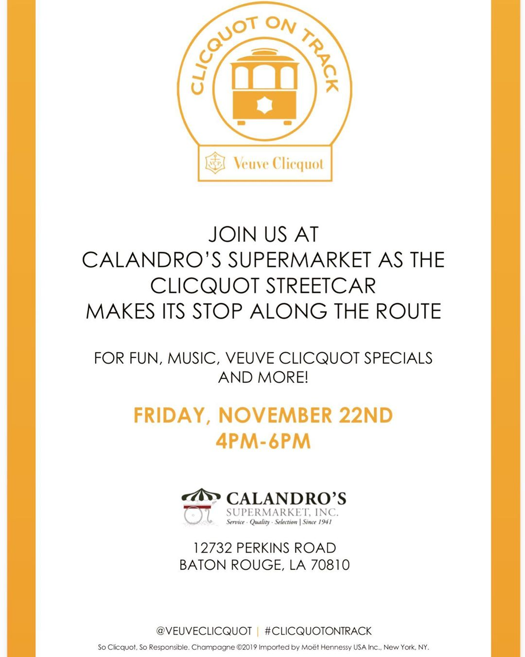 Veuve Clicquot's New Orleans Inspired streetcar will be making a stop by Calandro's at Government…
