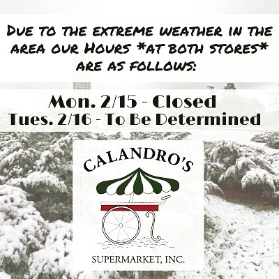 Here are store hour updates for both locations tomorrow, Monday, February 15th. We will keep