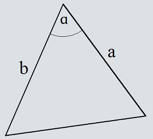 Keliling segitiga di sepanjang dua sisi dan sudut di antara keduanya
