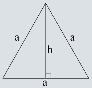 Omkrets av en liksidig triangel i höjd