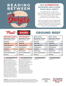 Preview of factsheet on nutritional values of ground beef vs. vegan products