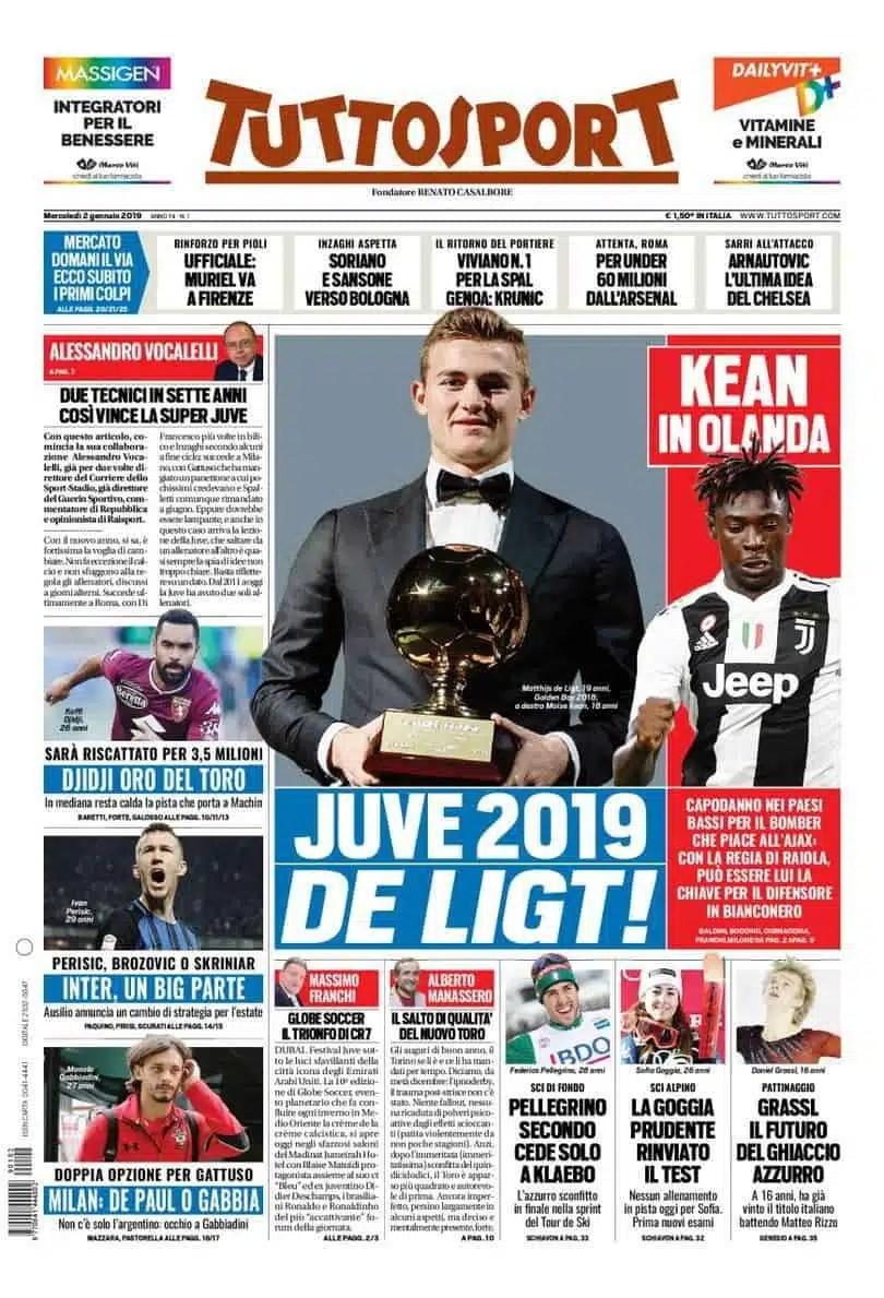 prima pagina tuttosport mercoledì 2 gennaio 2019