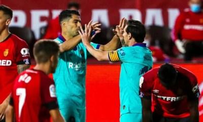 Suarez Messi esultanza Barcellona