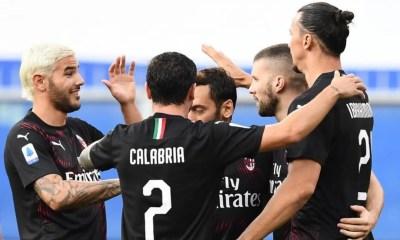 esultanza Ibrahimovic Theo Hernandez Calabria Milan