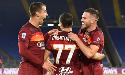 Esultanza Spinazzola Mkhitaryan Veretout Roma